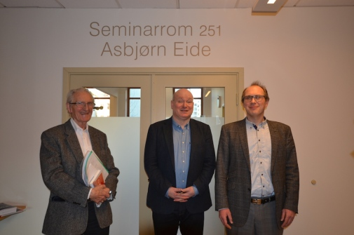 from the left:  Prof. Asbjörn Eide, Prof Hans Ingvar Roth and Prof Jakob Elster