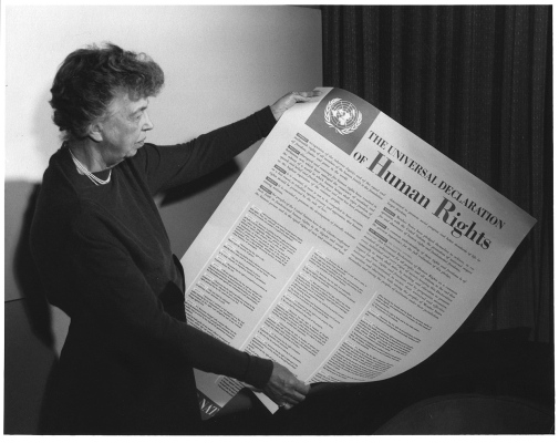 Eleanor Roosevelt with a copy of the Universal Declaration of Human Rights. Photo: Wikimedia Commons